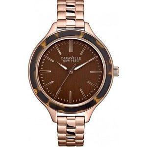 Caravelle rose gold wrist watch with tortoiseshell